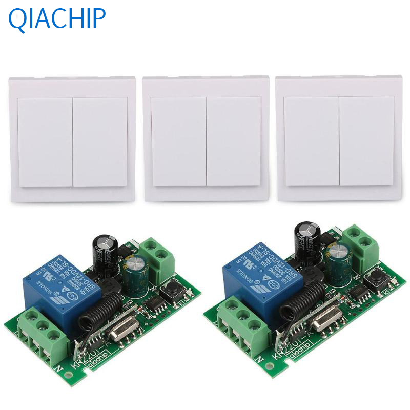 86 Wall Panel Switch CH 433MHz Transmitter 1 CH Relay Receiver 2pcs 433 MHz RF TX Relay Receiver Module Remote Control System 3channel wall panel remote transmitter 433mhz rf tx remote control home light switch and 433 mhz 220v 1ch relay receiver module