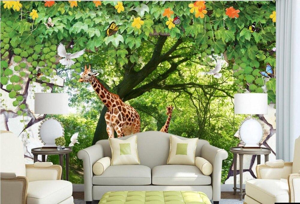 Custom 3d Nature Mural Wallpaper Nature Scenery For Walls: Custom 3d Mural Wall Scenery Wallpaper Forest Animals