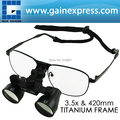 3.5x Galilean Style  Dental Loupes Surgical Medical Titanium Frame 420mm Working distance + 55mm Depth of Field