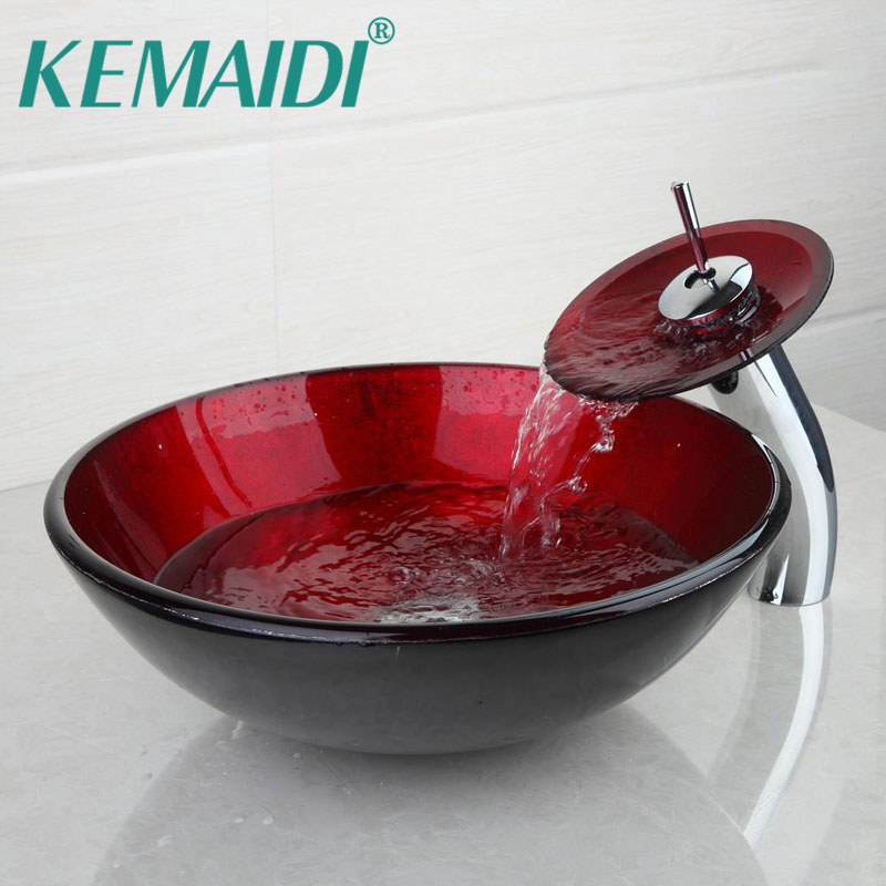 KEMAIDI Bathroom Washbasin Faucet Set Hand Made  Round Glass Sink Vessel Bar Single Hole Deck Mounted Basin Set W/Pop Up DrainKEMAIDI Bathroom Washbasin Faucet Set Hand Made  Round Glass Sink Vessel Bar Single Hole Deck Mounted Basin Set W/Pop Up Drain