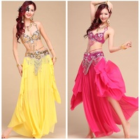 Belly Dance Costume 3 Pieces(bra +belt + Skirt) Belly Dance Set Flowing Egypt Bollywood Indian Costumes Red/yellow Beading Wear