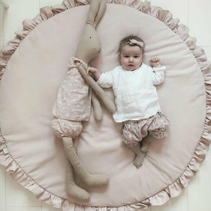 100 см дети играют игровые коврики круглый ковер коврики коврик хлопок сплошной Цвет Одеяло ковровое покрытие для Детская комната украшения ... ...