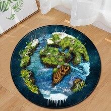 3D Universe Planet Chair Mat Area Rug Foot Pad Memory Foam Children Room Decor Earth Rugs Doormat Round Living Carpet