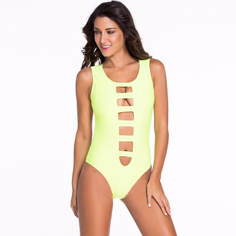 Sexy Bandage Cut Out Hollow One Piece Swimsuit Solid Bathing Suit Monokini Beachwear Woman Backless Swimwear 2018 Black Yellow
