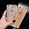 New gold bling paillette de lentejuelas bolso claro de la piel de lujo tpu case para iphone 6 6 s plus 5 5S sí delgada de goma de la contraportada dropshipping