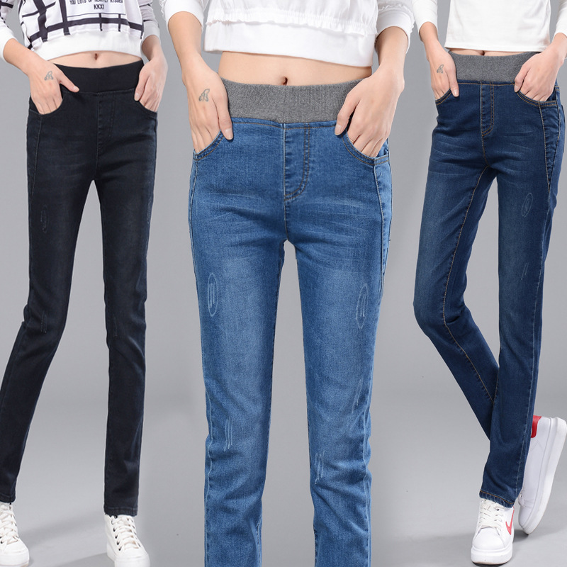 2016 Direct Selling Real Cotton Boyfriend Jeans For font b Women b font With Large Elastic