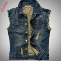 2016 New Fashion Retro Mens Denim Vest Jean Jacket Sleeveless Shirt Biker Trucker Slim Fit Vests Free shipping
