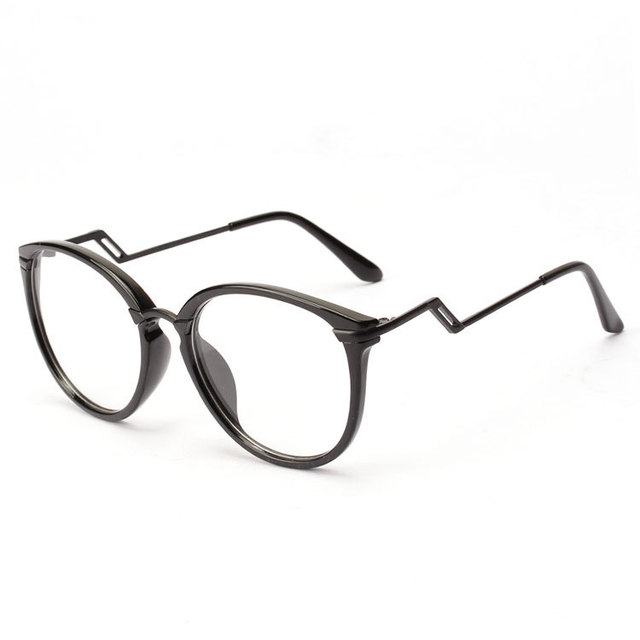 Curved legs large round glasses frame plain mirror men and women ...