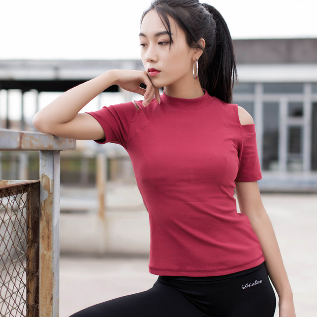 4a650579b33c30 Black Red Blue Short Sleeve Sport T-shirts Women T Shirts Sexy Off Shoulder  Yoga Top Tee Shirt Femme Sport Top Fitness Women Gym