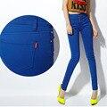 Осень Новый Женский Джинсы 2016 женщин цвета конфеты высокая талия женщины джинсы грудью женские эластичные тонкие Джинсовые брюки женские Брюки
