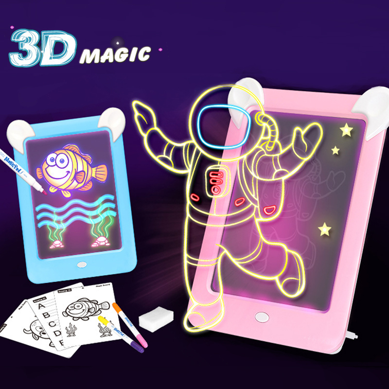 3D Drawing Board Toys Handwriting Pad Message Graphics Board Kids Doodle Sketch Writing Board Glow In The Dark Children Gifts