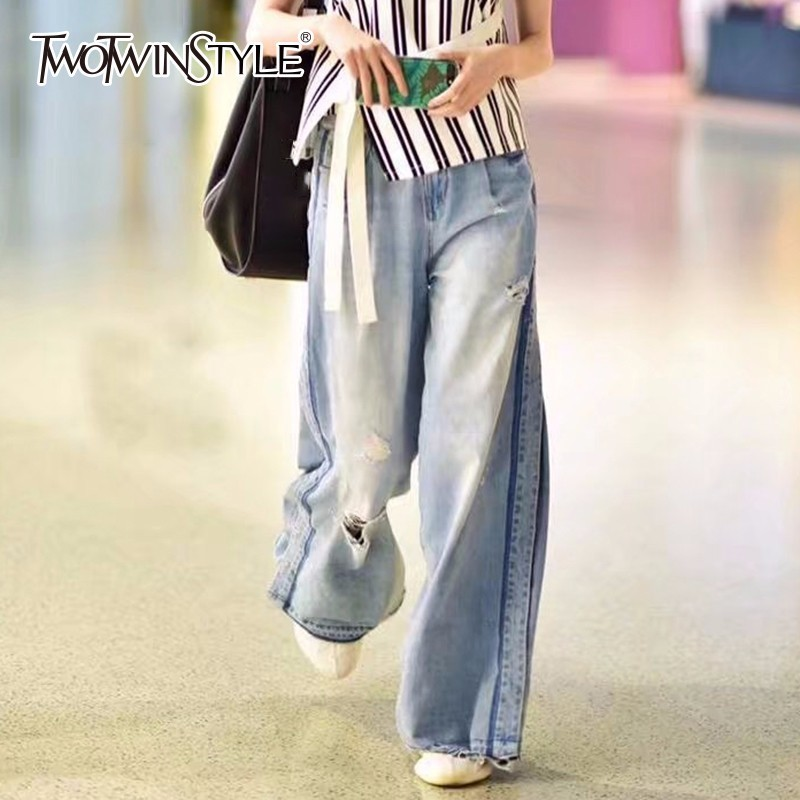 TWOTWINSTYLE Hole Jeans For Women High Waist Vintage Plus Size Maxi Pants Female