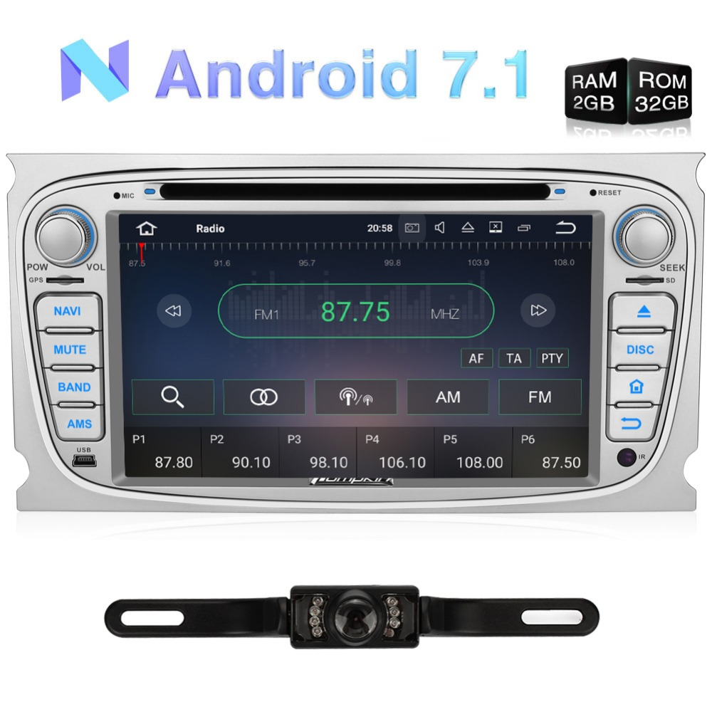 Pumpkin 2 Din Android 7.1 Car DVD Player GPS Navigation Quad core Car Stereo For Ford Mondeo/Focus FM Rds Radio DAB+ Headunit