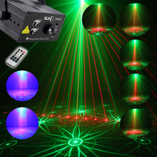ASLT New Arrival 3 Lens 40 Patterns RG Laser BLUE LED Stage Lighting DJ show Light Party Bar Light US Plug