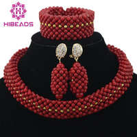 Handmade Red Coral Beads Bridal Jewelry Sets Nigerian Wedding Party Necklace African Beads Jewelry Set Free Shipping ABF249