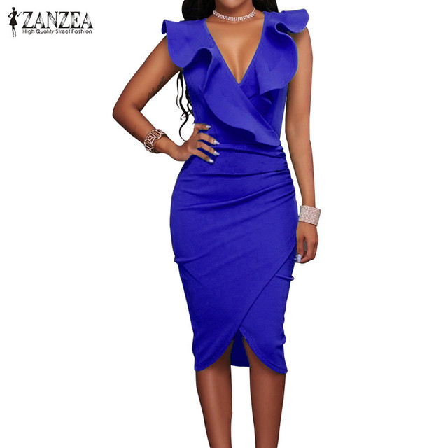 ZANZEA 2018 Women Summer Dress Sexy Sleeveless V Neck Pencil Party Dresses Ladies Ruffles Bodycon Slim Midi Club Vestidos 3