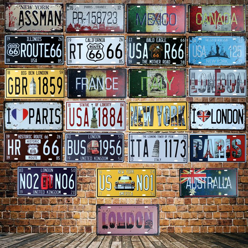 New York London Paris Mexico License plate signs Wall Plaque Poster Decor Cafes France Route 66 Painting HY-1713
