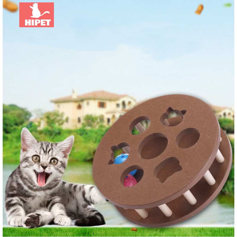 Funny Wooden pet cat toy Touch Ball Rotating Playing Interactive Ball Toys Amusement plate cat supplies educational toy indoor