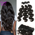 7A Peruvian 3Pcs Body Wave Hair with Lace Frontal Closure Full Lace Frontal Closure with Natural Black Virgin Human Hair Bundle
