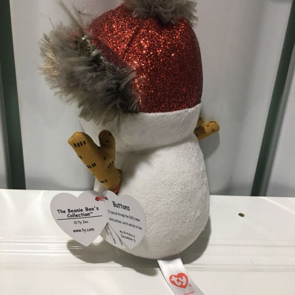 b78fca1e924 2019 Buttons Snowman With Heart Tag And Tush Label TY BEANIE BOOS ...