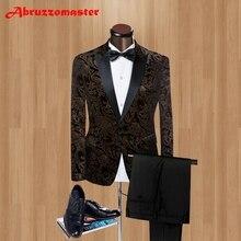 Брендовые черные бархатные Мужские костюмы с острым отворотом, приталенные свадебные костюмы для лучших мужчин, Умные повседневные мужские смокинги на одной пуговице(пиджак+ брюки
