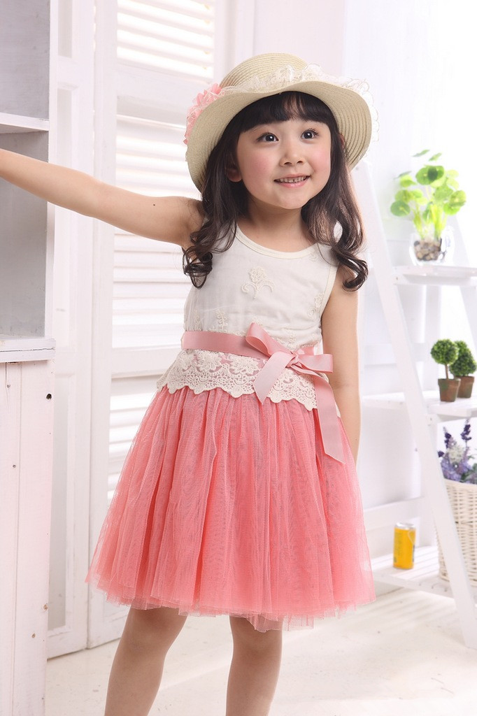 Mother & Kids New Summer Sally Lace Patchwork Girls Princess Dress 1pc Sleeveless Knee-length Vest Girl Party Dress Kids Ball Gown