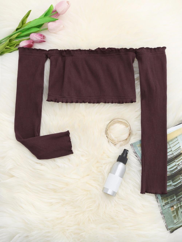 HTB1nihdRFXXXXXVXXXXq6xXFXXX4 - Frilled Off The Shoulder Crop Top Summer Floral Knitted Female Tops JKP006