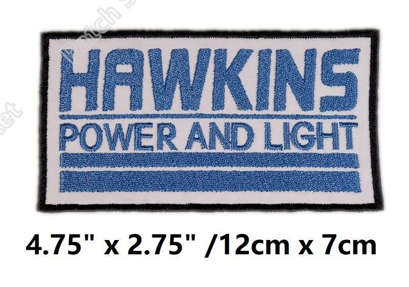 4 8 Stranger Things Hawkins Power and Light Patches Retro 80s TV Movie Series Embroidered iron