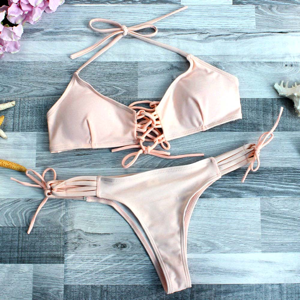 2018 Sexy Pink Brazilian Bikini Set Women Halter Top Bathing Suit Summer Beachwear Bandage Swimwear Biquinis Maillot De Bain