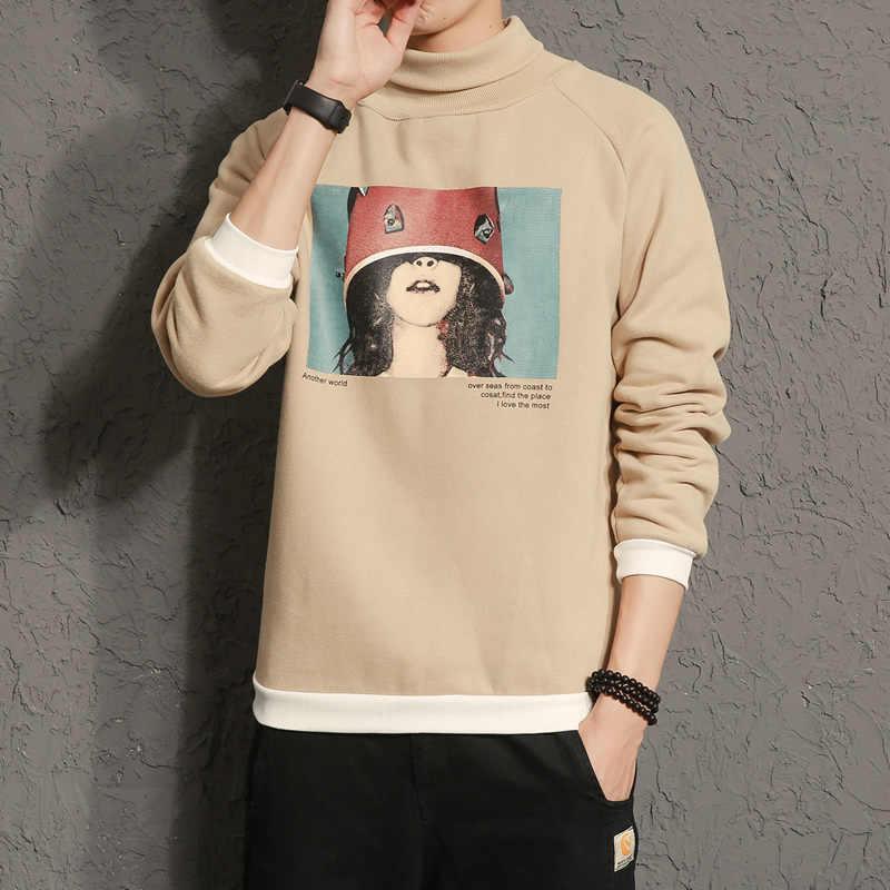 Модная мужская футболка с водолазкой весна осень Новое поступление принт флисовые толстовки модная мужская одежда Повседневный пуловер мужские M-5XL