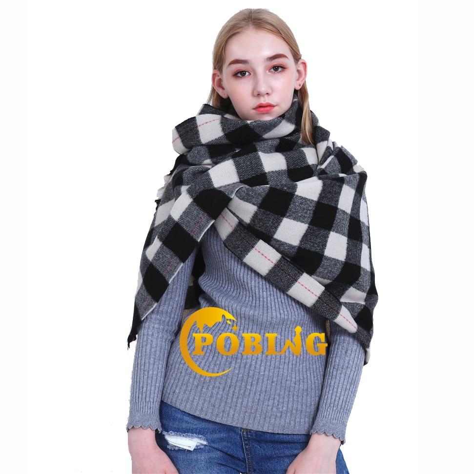 POBING 2018 za Winter   Scarf   Women Tartan Plaid   Scarves     Wraps   Soft Wram Cashmere Shawl Big Pashmina Lady Blanket Stoles Poncho