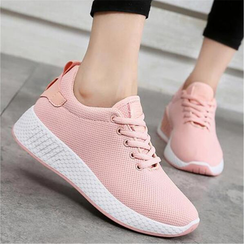 Comfortable women sneakers air mesh spring/autumn shoes solid black/white/pink female shoes zapatillas mujer plus size 34-39 B03 jenni new pink solid ruffled chemise l $39 5 dbfl