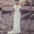 Пользовательские Лоре де Sagazan Свадебные Платья с рукавом кружева урожай Чешский Сексуальная спинки V Шеи свадебные платья бич boho 2016