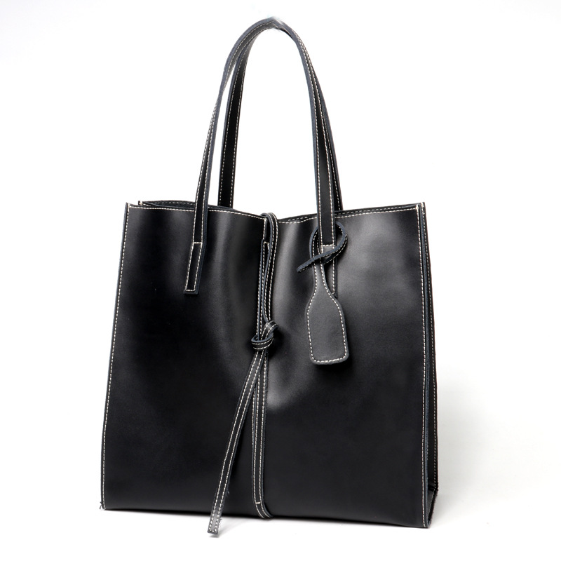 Womens Fashion Leather Bucket-type Handle Bags Simple, Utility Leather Lacks Style-Large-Size BagWomens Fashion Leather Bucket-type Handle Bags Simple, Utility Leather Lacks Style-Large-Size Bag