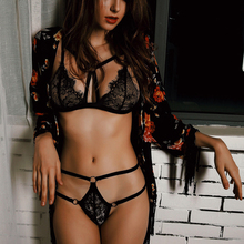 Plus Size French Sexy Lingerie Women Hollow Out Black Mini Nightgowns Baby Doll Sleepwear Silk V-neck Temptation Belt Intimate