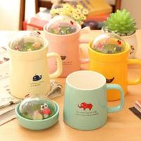 Micro landscape Mugs With Cover Creative Ceramic Coffee Breakfast Milk Water Mug Porcelain Cup Home Drinkware Gift