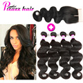 Brazilian Hair Weave With Bundles 8A Brazilian body wave with lace closure 4 Pcs Brazilian Human Hair Body Wave With Closure