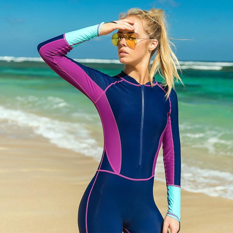 Women One Piece Swimsuit Rash Guard Surfing Suit Dive Skin Full Body Swimwear