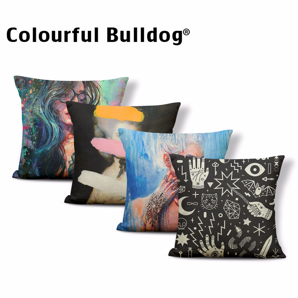 Dropshipping Cartoon Woman Pillow Cases Flower Oil Painting 17In Moon Snake Witch Hat Skull Cushion Covers Halloween Party Decor