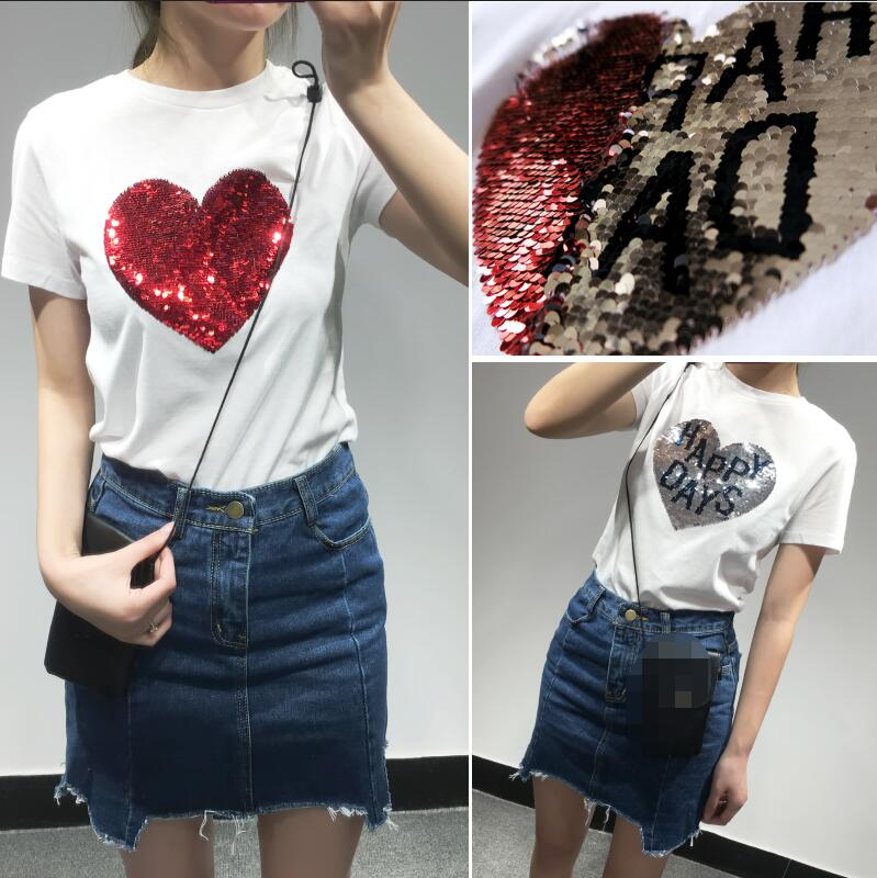 Colorful variety sequins hearts cotton t shirts reversible for Sequin t shirt changing