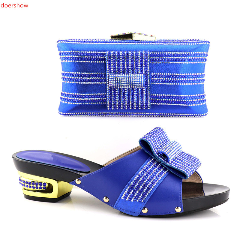 doershow New Arrival Italian Shoes With Matching Bag Set For Wedding Party Fashion Women blue Color Pumps Shoes and Bags !HV1-22 doershow african shoes and bags fashion italian matching shoes and bag set nigerian high heels for wedding dress puw1 19