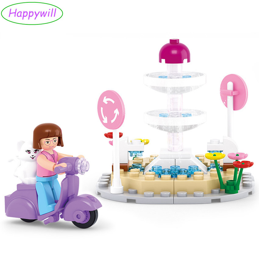 Happywill M38-B0519 Cat Fountain Building Blocks Compatible Playmobil for Girls Educational Toys for Children