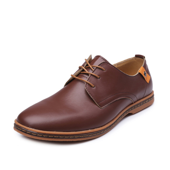 The new Men Casual Shoes PU Leather Lace-up Plus Size 38-48 Flat With Shoes Men  Oxfords Shoes