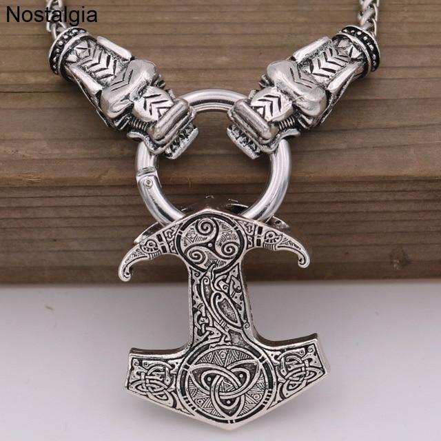 Thor Hammer Odin Raven Slawischen Kolovrat Axt Symbol Wolf Köpfe Kette Baum Des Lebens Anhänger Viking Halskette Dropshipping 2019