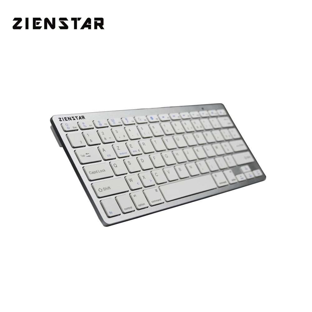 Zienstar AZERTY French Language Slim Bluetooth Wireless Keyboard for ipad/Iphone/Macbook/PC computer/Android Tablet lofree dot bluetooth mechanical keyboard wireless backlit round button for ipad iphone macbook pc computer android tablet