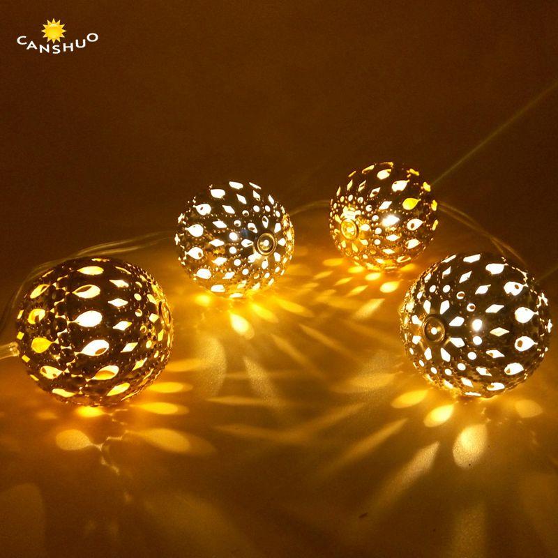 Wedding White Lights: 3.5M 20 LED Moroccan Orb Golden Ball Warm White String