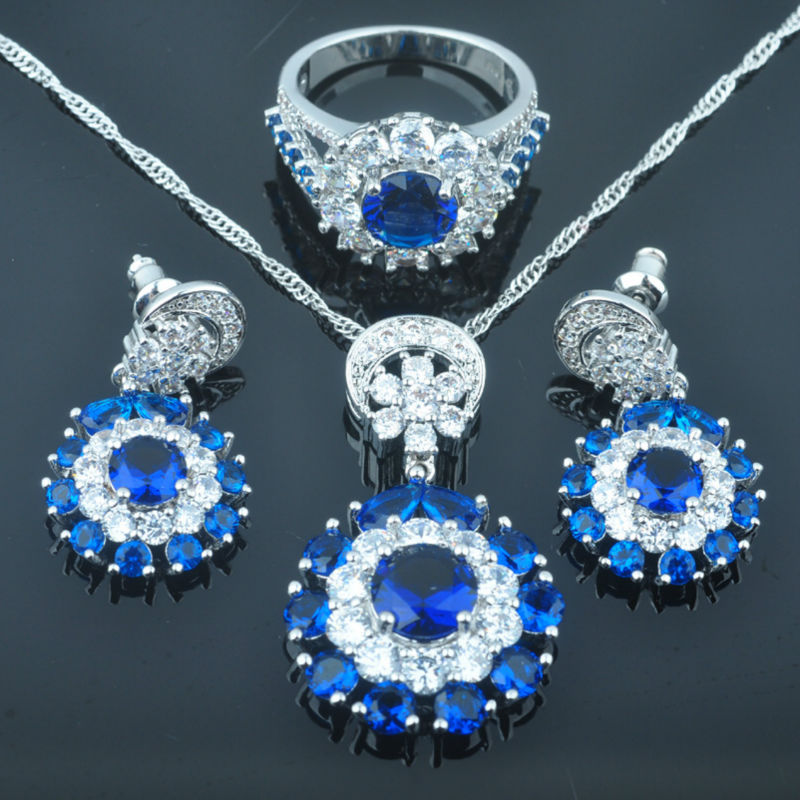 FAHOYO Noble Blue Zirconia Womens 925 Silver Wedding Jewelry Sets Earrings/Pendant/Necklace/Rings Free Shipping QZ085