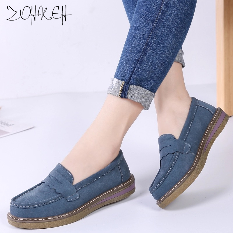 2019 New Spring Women Platform Flats Shoes Slip on   Leather     Suede   Chaussure Femme Ballerina Flats Thick Soled Sneakers Moccasins