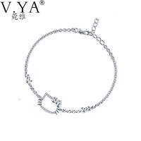 White AAA Crystal Hello Kitty Cat S925 Solid Silver Bracelet 100% Real 925 Sterling Silver Bracelets for Women Jewelry CB40