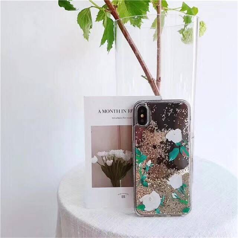New Fashion Flower Soft TPU Mobile Phone Case For iPhone8 8PLus Glitter Transparent Liquid Sand Protective Shell Back Covers Bag